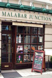 Outside Malabar Junction in Bloomsbury