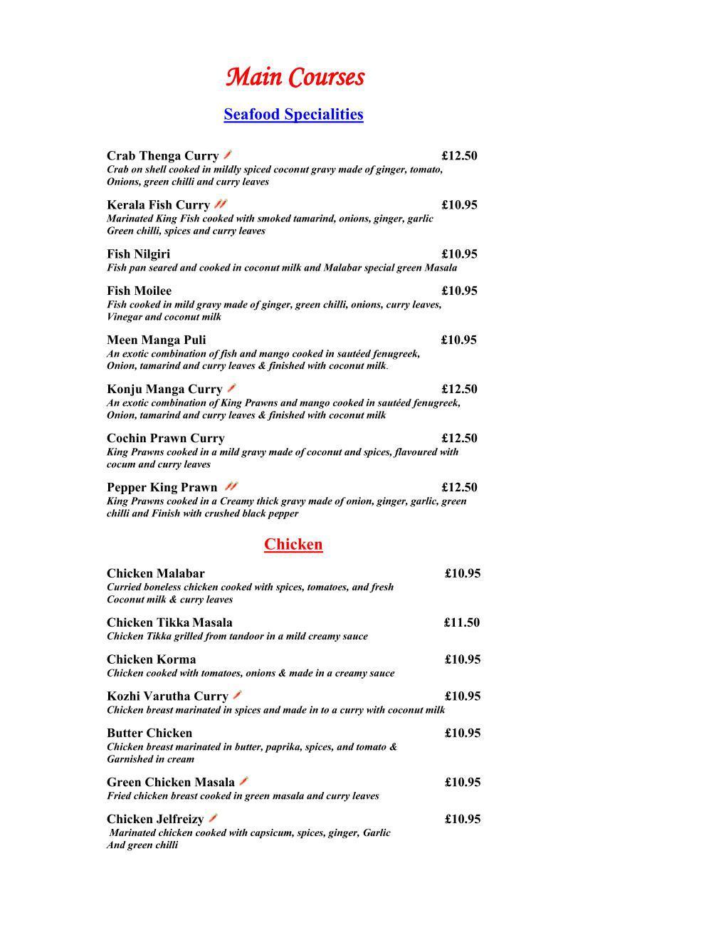 Malabar Restaurant Carte